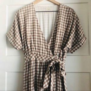 Brown Gingham Wrap Dress